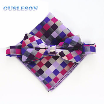 Fashion Men Bow tie And Set Man Bow tie Handkerchief Set For Wedding Vintage Plaid Pocket Square Necktie