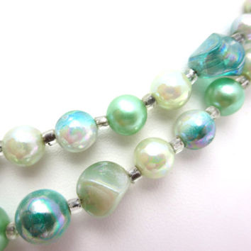 Green Beaded Necklace - AB White and Greens Double Strand Costume Jewelry