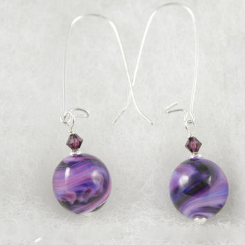 Purple Swirl Lampwork Glass Bead Earrings made with Sterling Silver and Purple  Swarovski Crystals 5b3b7b695