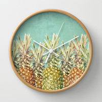 Pineapple Paradise Wall Clock by Lisa Argyropoulos
