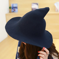 MASCOTT Along the sheep wool cap knitting fisherman hat qiu dong Female fashion witch pointed basin hat accessories