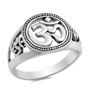 Sterling Silver Women's Ring OM Sign 13MM