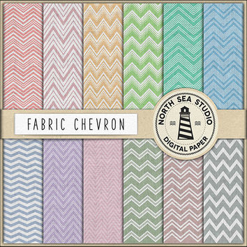 Chevron Digital Paper Fabric Chevron Linen ZigZag Canvas Patterns Linen Backgrounds Fabric Texture Vintage Colors Scrapbook Paper 12x12 in