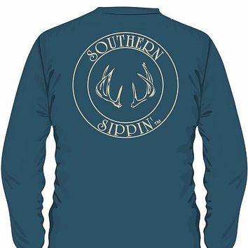 Southern Sippin Deer Antlers Pigment Dyed Unisex Pocket Long Sleeve T-Shirt