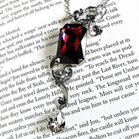 Burgundy Swarovski Necklace Three Stone Crystal Necklace Victorian Jewelry