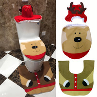 Hot 3pcs/set Christmas Bear Toilet Seat Cover and Rug Bathroom Set Contour Rug Xmas Decorations For Natal Navidad Decoracion