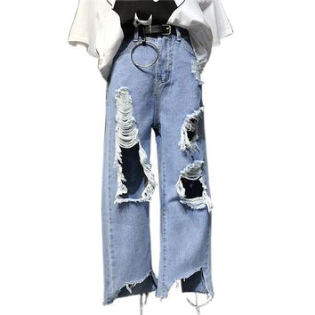 Womens Vintage Distressed Mom Jeans