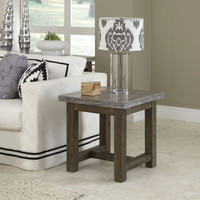 Transitional End Table Hand-Applied Concrete Top Solid Wood Base Home Furniture
