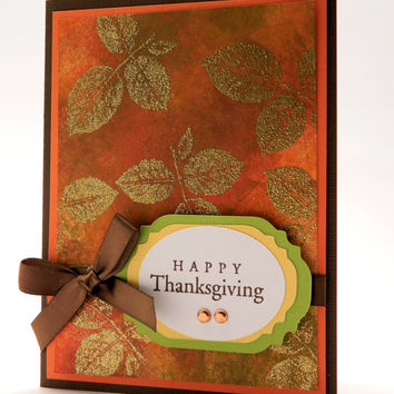 Greeting Card Handmade, Happy Thanksgiving, Gold Embossed Leaves, French Roast and Candy Corn