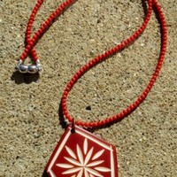 Red Coral Christmas Star Necklace