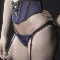 Sexy Tanga with Strappy Satin Detail and Removable Garter Straps