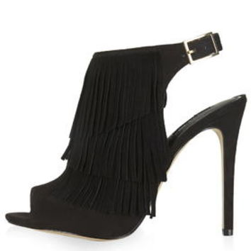 RHONDA Fringe Sandals - Black