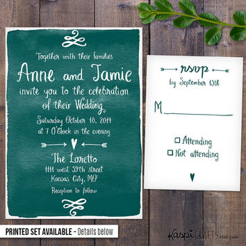 Handwritten invitation, rustic wedding, printable wedding invitation, printed invitation, customize with your wedding colors