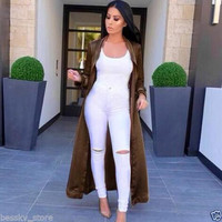 Sexy's Women Coat Casual Long Sleeve V Neck Long Duster Coat Satin Trench Coats