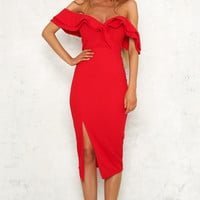 Right My Wrongs Midi Dress Red