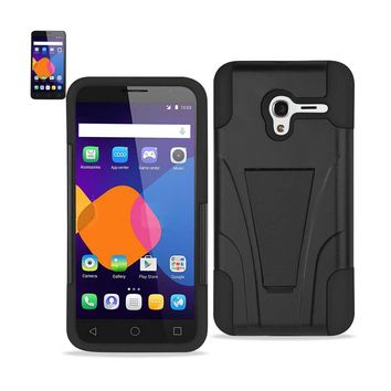 New Alcatel OneTouch PIXI 3 Hybrid Heavy Duty Case With Kickstand In Black