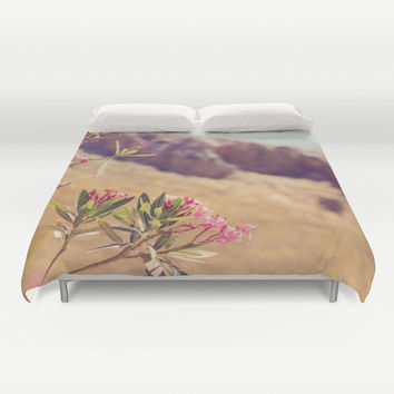 Art Duvet Cover Flowers in Paradise 1 fine art Modern Landscape photography home decor Pink Floral printed Bed Cover brown green blue