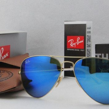 NEW REAL Ray Ban Aviator RB3025 112/17 all size Gold Frame Blue Mirror Unisex