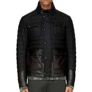 Moncler Black Quilted Wool Burton Jacket