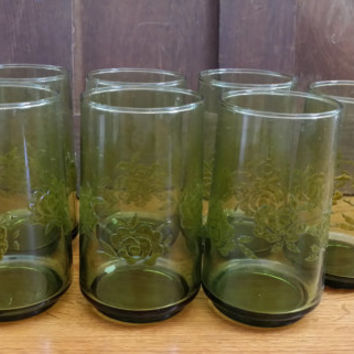 Vintage Avocado Green Rose Glasses by Anchor Hocking Giftware Tumblers Set of 7