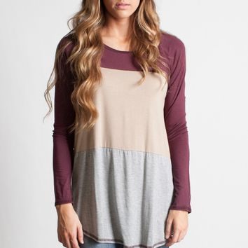 Plum Color Block Long Sleeve Top