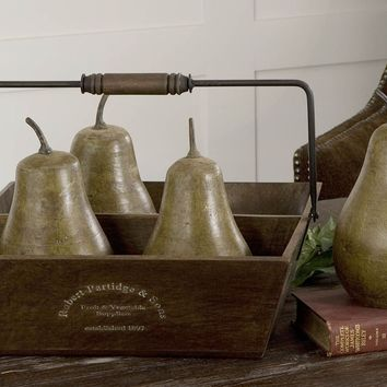 Decorative Pears In Basket Set/5 By Uttermost