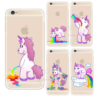 For Apple iPhone 4 4S 5 5S 5C 6 6S 6 Plus 6SPlus Cute Hippo Rainbow Unicorn Horse Clear Plastic Case Back Cover