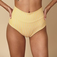 Canary Stripe High Rise Bikini Bottom