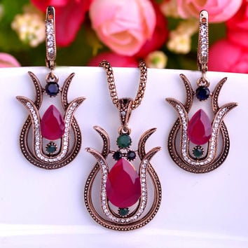 Anti Gold Tulip Turkish Vintage Jewelry Sets Necklace & Earrings Resin Crystal Colares Bijuterias Women Dress Sets Collar Bijoux