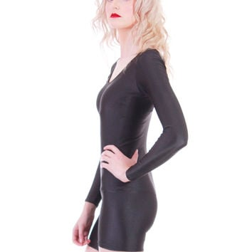 80s Vintage Black Bodysuit Bodycon Skin Tight Long Sleeve with Shorts Romper Jumpsuit 90s Minimalist Goth Womens Size XS