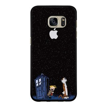 Calvin And Hobbes Apple Tardis Samsung Galaxy S7 Edge Case