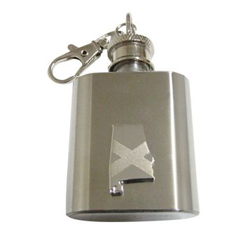 Alabama State Map Shape and Flag Design 1 Oz. Stainless Steel Key Chain Flask