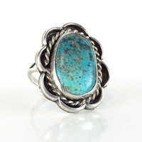 Vintage Native American Turquoise Ring Sterling Silver Navajo Pawn Ring Southwestern Jewelry Antique Jewelry Boho Blue Turquoise Ring Size 8