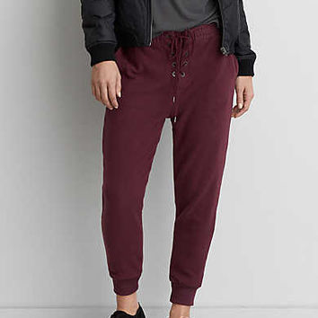 AEO Ahh-mazingly Soft Lace-Up Jogger Pant, Burgundy