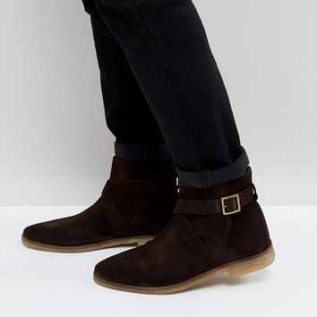 ASOS Chelsea Boots In Brown Leather With Black Contrast Sole at asos.com