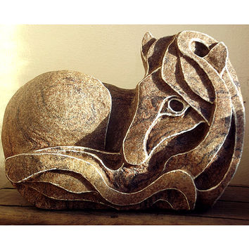 Horse Sculpture - Stone Carving. Pony sculpture, Stone ornament, UK, Horse Statue, Horse Carving, Stone Sculpture, Stone Carving, Equine art