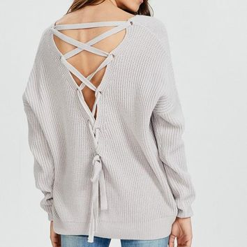 Fall Vibes Lace Up Back Sweater (Lavender)