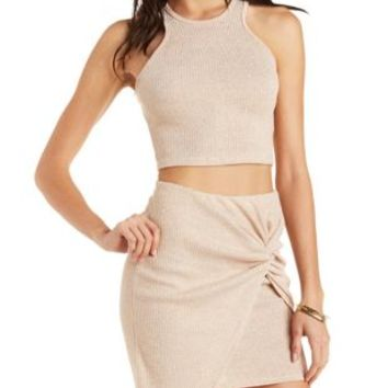 Sparkle Knit Racer Front Cropped Tank