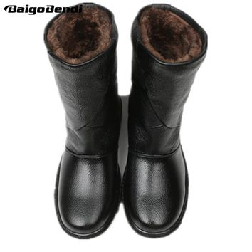 US5-10 Real Leather Pull On Waterproof Super Warm Mid-calf Snow Boots Mens Winter Outdoor Plush Cotton Shoes