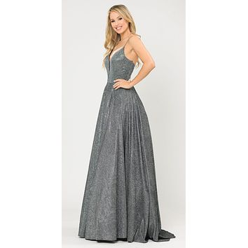 Silver/Black Criss-Cross Back Long Prom Dress with Pockets