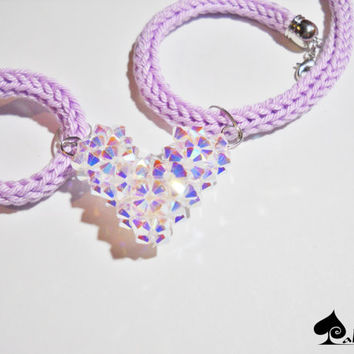 Valentine 's day - Swarovski 3D Heart - Knitted necklace