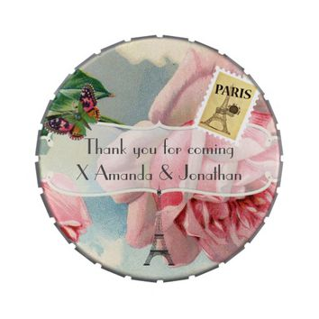 Vintage Paris Themed Wedding Party Pink Rose Jelly Belly Tin