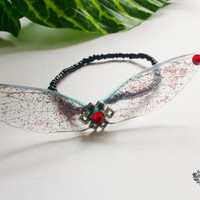 Fairy wings elastic bracelet. Glitter jewelry. Available in six colours