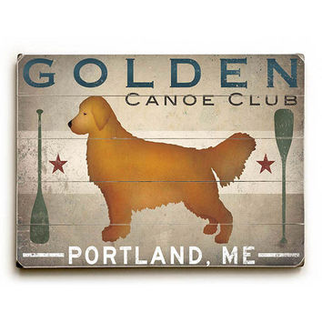 Personalized Golden Dog Canoe by Artist Ryan Fowler Wood Sign