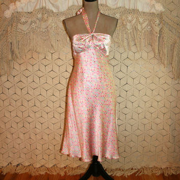 Pink Polka Dot Dress Pink Silk Halter Dress Silk Summer Dress Pastel Silk Satin Dress Sigrid Olsen Size 8 Size 10 Medium Womens Clothing
