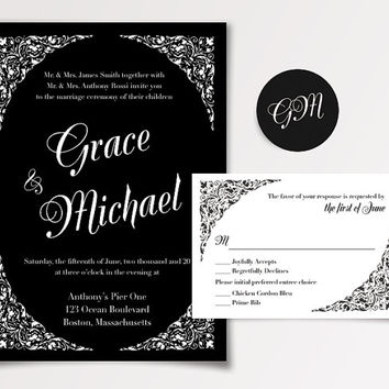 Black Ornate Wedding Invitation Templates Available for Instant Download - DIY Printable