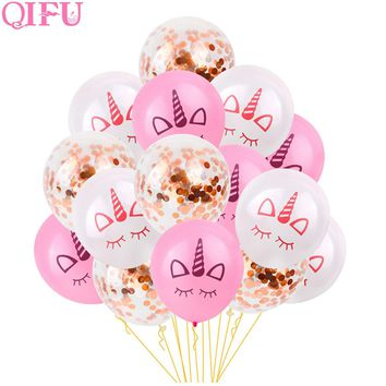 QIFU 15Pcs 12inch Rose Gold Confetti Balloon Latex Unicorn Party Decor Wedding Event Air Balloon Birthday Party Decorations Kids