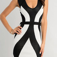 Black and White Printed Sleeveless Bodycon Dress
