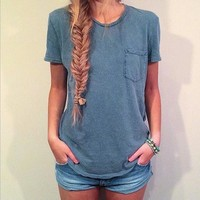 Fashion Pocket Solid Color TShirt Blouse Tops