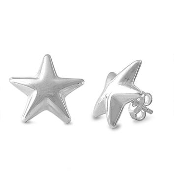Sterling Silver Star SuperNova Stud Earrings